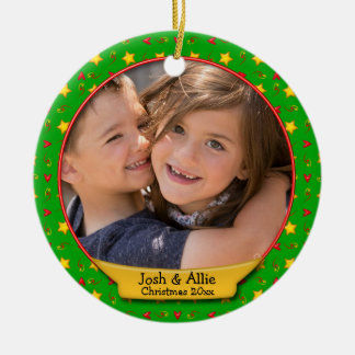 Commemorative Christmas Memories • Hearts & Stars Ceramic Ornament