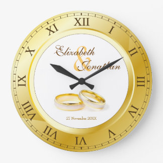 Commemorative Wedding Gold Roman Numerals Photo Wallclock