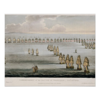 Commencement of the Battle of Trafalgar, 21st Octo Poster