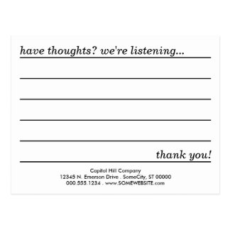 comment card postcard