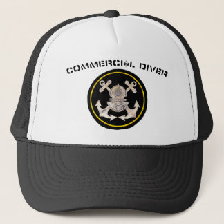 Commercial Diver Helmet and Crossbone Anchors Trucker Hat