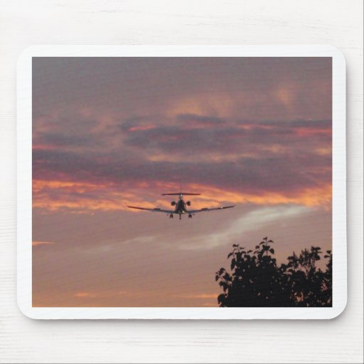 Commercial Jet Landing At Sunset Mousepad