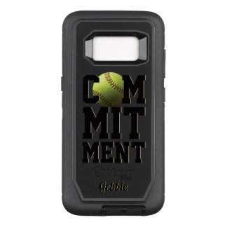 Commitment Yellow Softball Name OtterBox Defender Samsung Galaxy S8 Case