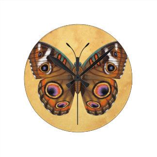 Common Buckeye Butterfly Round Clock