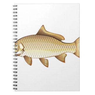 Common Golden Carp Vector Art Spiral Note Books
