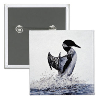 Common loon 2 inch square button