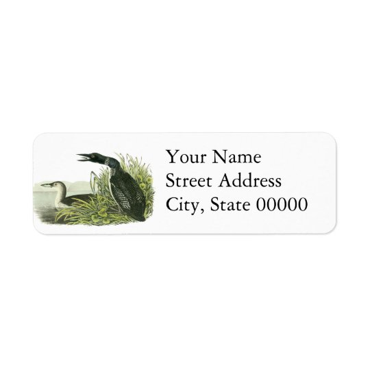 Common Loon, John Audubon Return Address Label