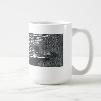 Common Loon Linocut Mug