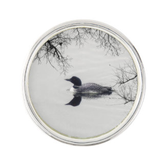 Common Loon Swims in a Northern Lake in Winter Lapel Pin