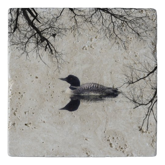 Common Loon Swims in a Northern Lake in Winter Trivet