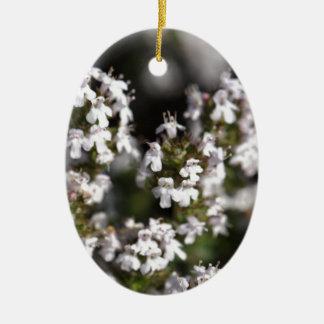 Common thyme ceramic oval ornament
