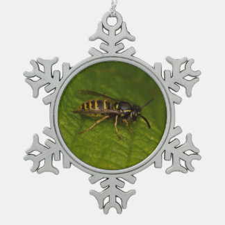 Common Wasp Snowflake Pewter Christmas Ornament