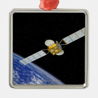 Communications Satellite Silver-Colored Square Ornament