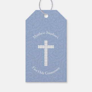 Communion Blue Vines and Stripes Gift Tags