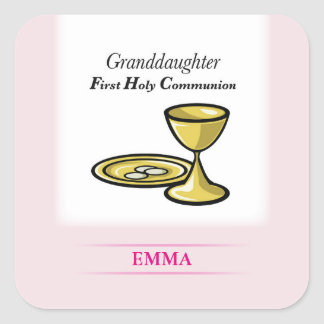 Communion Body and Blood Granddaughter Square Sticker