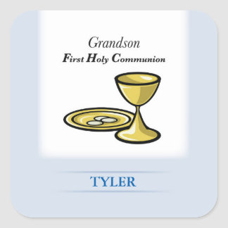 Communion Body and Blood Grandson Square Sticker