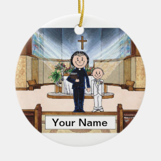 Communion, Boy - Female Priest Ceramic Ornament