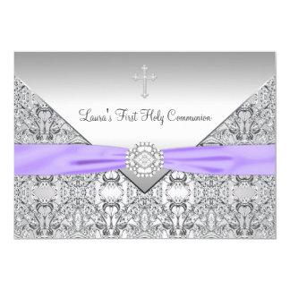 Communion de pourpre croisé de filles de dentelle carton d'invitation  12,7 cm x 17,78 cm