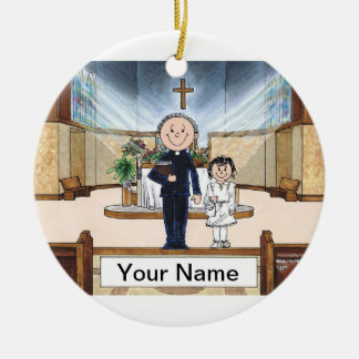 Communion, Girl - Male Priest Ceramic Ornament