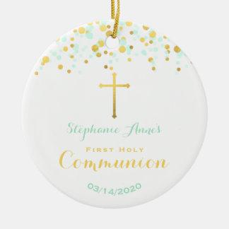 Communion Mint and Gold Confetti Ceramic Ornament