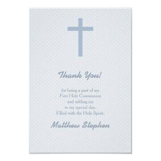 "Communion Pastel Blue Cross 3.5"" X 5"" Invitation Card"