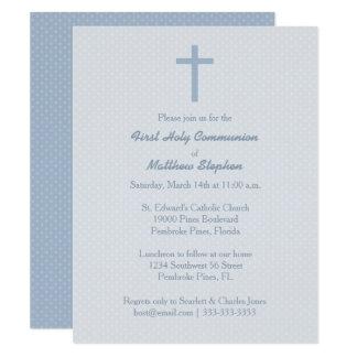 Communion Pastel Blue Cross Card