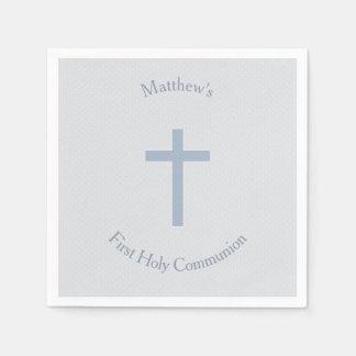 Communion Pastel Blue Cross Disposable Napkins