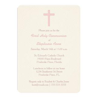 Communion Pastel Pink Cross Card