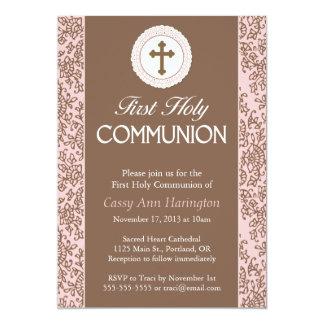 Communion Pink Leaves Invitation