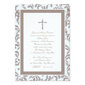 """Communion Soft Blue and Brown Paisley 5"""" X 7"""" Invitation Card"""
