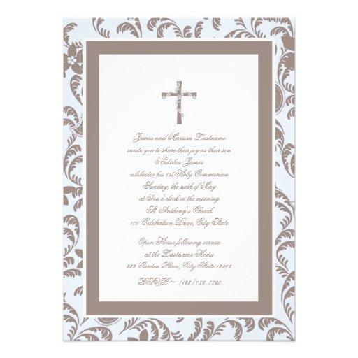 Communion Soft Blue and Brown Paisley Custom Invite