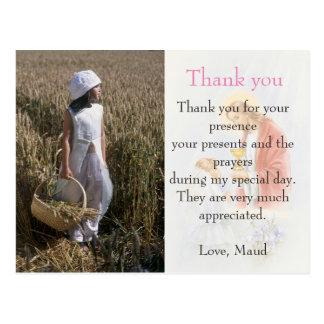 communion thank you note custom photo card