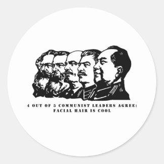 Communism facial hair round sticker