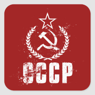 Communist CCCP Hammer Sickle White Flag Stickers