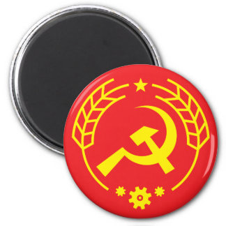 Communist Hammer & Sickle Gear Badge Magnet