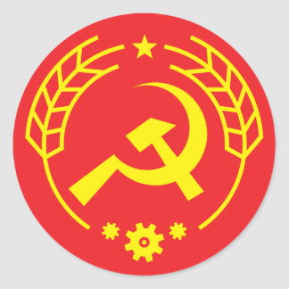 Communist Hammer & Sickle Gear Badge Sticker