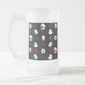 Communist Leaders Frosted Glass Beer Mug