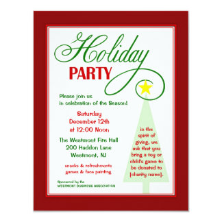 "Community Event Holiday Party Invitation 4.25"" X 5.5"" Invitation Card"