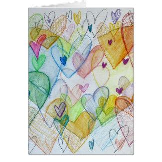 Community Hearts Painting Custom Art Greeting Card