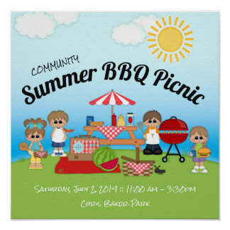 Community Summer BBQ Picnic Poster