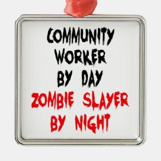 Community Worker Zombie Slayer Silver-Colored Square Ornament