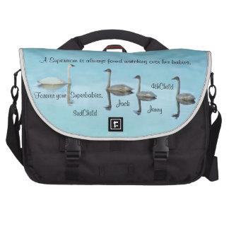 Commuter Laptop Messenger Bag funny Blue Swans Mom