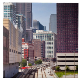 Commuter rail tracks lead into Downtown Chicago Tile