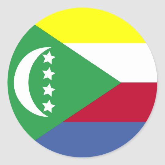 Comoros High quality Flag Classic Round Sticker