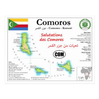 Comoros Map Postcard