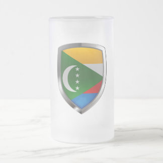 Comoros Mettalic Emblem Frosted Glass Beer Mug