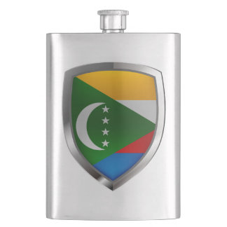 Comoros Mettalic Emblem Hip Flask