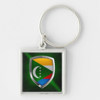 Comoros Mettalic Emblem Silver-Colored Square Keychain
