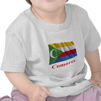 Comoros Waving Flag with Name in French T-shirts