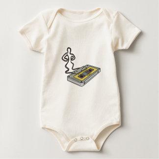 Compact Cassette Tape Man Dancing Mono Line Baby Bodysuit